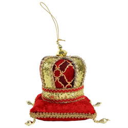 Small Image of Red & Gold Fabric Crown on Plush Pillow Christmas Tree Decoration
