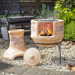 Small Image of Oxford Barbecues Inca Clay BBQ Chiminea Patio Heater + Grill