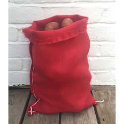 Small Image of 3 x Nutley's Red Coloured Hessian Potato Sack Vegetable Storage Bag Jute 30 x 45cm