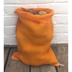 Small Image of Nutley's Orange Coloured Hessian Potato Sack Vegetable Storage Bag 30 x 45cm