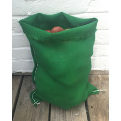 Small Image of 3 x Nutley's Green Coloured Hessian Potato Sack Vegetable Storage Bag 30 x 45cm