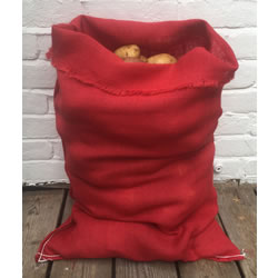 Small Image of Nutley's Red Coloured Hessian Potato Sack Vegetable Storage Bag 50 x 80cm jute