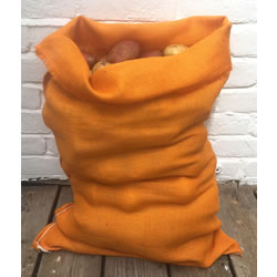 Small Image of Nutley's Orange Coloured Hessian Jute Potato Sack 50 x 80cm