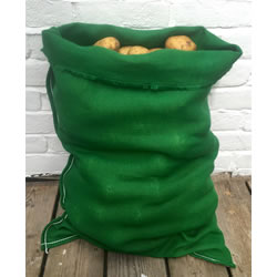 Small Image of 3 x Nutley's Green Coloured Hessian Potato Sack Vegetable Storage Bag 50 x 80cm jute