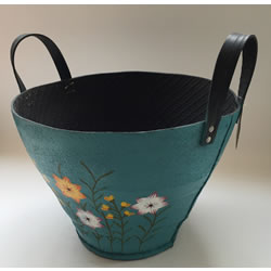 Small Image of Nutley's Large Round Blue Hand Painted Recycled Tyre Planter