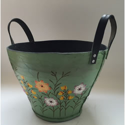Small Image of Nutley's Large Round Green Recycled Tyre Planter Hand Painted Garden