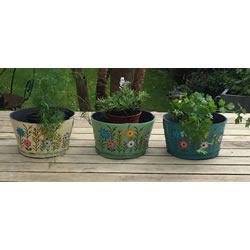 Small Image of Nutley's Triple Pack Small Round Recycled Garden Planters