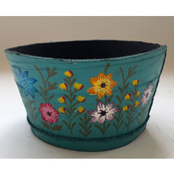 Small Image of Nutley's Small Blue Round Recycled Tyre Garden Planter