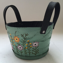Small Image of Nutley's Small Round Green Recycled Tyre Planter with Handles Hand Painted