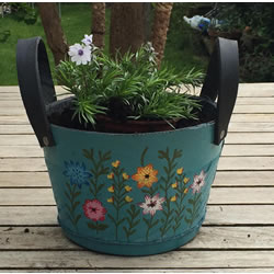 Small Image of Nutley's Small Round Blue Recycled Tyre Planter with Handles Hand Painted