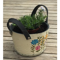 Small Image of Nutley's Small Round Cream Recycled Tyre Planter with Handles Hand Painted