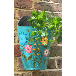 Small Image of Nutley's Blue Round Recycled Tyre Wall Planter