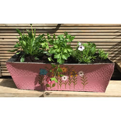 Small Image of Nutley's Pink Rectangular Recycled Tyre Planter Hand Painted Garden Grow Your Own
