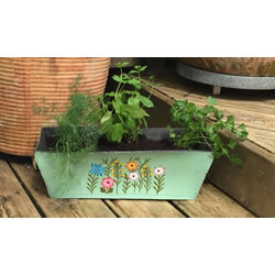Small Image of Nutley's Green Rectangular Hand Painted Recycled Tyre Planter