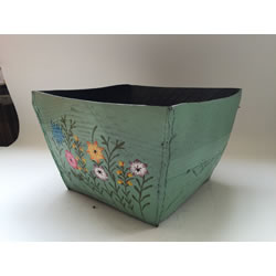 Small Image of Nutley's Large Square Hand Painted Recycled Tyre Planter Green