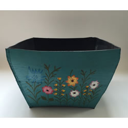Small Image of Nutley's Large Square Hand Painted Recycled Tyre Planter Blue