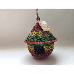Small Image of Nutley's Round Woven Bird House Garden Multi-coloured