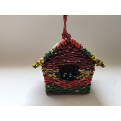 Small Image of Nutley's Square Woven Bird House Garden Multi-coloured