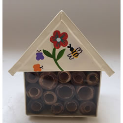 Small Image of Nutley's White Miniature Insect House with Flower Decoration Garden Outdoors