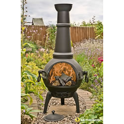 Small Image of La Hacienda Black Lisbon 125cm Cast Iron Chiminea Chimenea Patio
