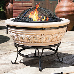 Small Image of La Hacienda Carved Scroll Magnesia Medium Firepit