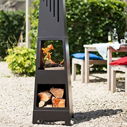 Small Image of La Hacienda Vela Black Steel Garden Chiminea With Laser Cut Design 150cm High