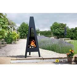 Small Image of La Hacienda Delta 146cm Contemporary Steel Chiminea Patio Heater