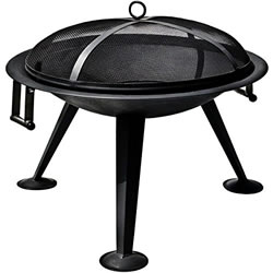 Small Image of La Hacienda Black Steel Firebowl Firepit Wood Burner Patio Heater