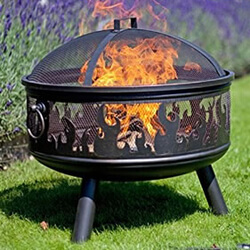Small Image of La Hacienda Bronze Wildfire Firebowl with BBQ Grill