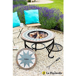 Small Image of La Hacienda Tiled Firepit Table with Grill & Centre Lid