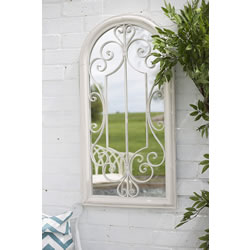 Small Image of La Hacienda Scrolled Arch Antique White Outdoor Garden Mirror