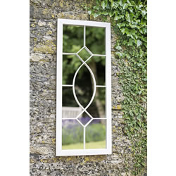 Small Image of La Hacienda Tall Rectangular Cream Metal Outdoor Garden Mirror Feature