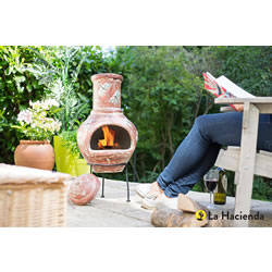 Small Image of La Hacienda Alegria Large Dragon Fly Clay Chiminea Patio Heater