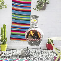 Small Image of La Hacienda El Sol Large Clay Chiminea Patio Heater