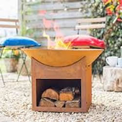 Small Image of La Hacienda Fasa Cast Iron Firepit With Wood Store - 56cm Diameter