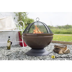 Small Image of Enamelled Firepit With Grill Patio Heater Bronze