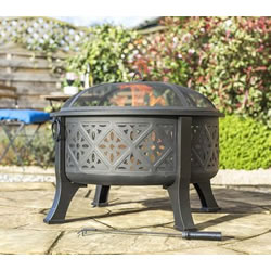 Small Image of Moroccan Pattern Deep Bowl Firepit With Grill