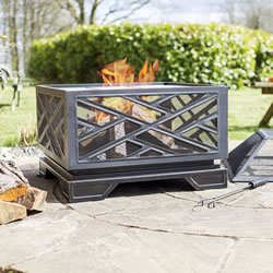 Small Image of La Hacienda Square Brushed Bronze Effect Deep Steel Firepit BBQ Grill