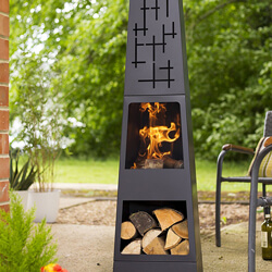 Small Image of Oxford Barbecues Cherwell Chiminea, Black, 36 x 36 x 151 cm