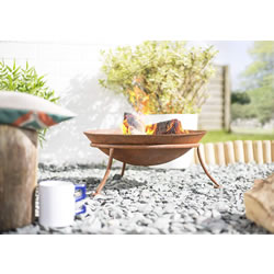 Extra image of La Hacienda Kutu Oxidised Cast Iron Firepit with Steel Stand