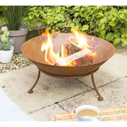 Small Image of La Hacienda Ipata Oxidised Cast Iron Firepit with Steel Stand