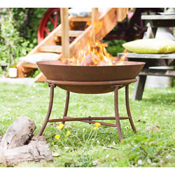 Extra image of La Hacienda 58262 Oxidised Karat Fire Pit Basket Bowl Cast Iron Outdoor Heater