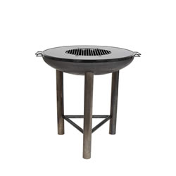 Small Image of La Hacienda Firebowl Pittsburgh L - Diameter 80 cm - Fire Pit BBQ Plancha Grill with Black Plate