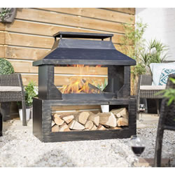 Small Image of La Hacienda Stonehurst Steel Outdoor  Fireplace