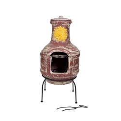 Extra image of Oxford Barbecues Aurora Clay Chiminea With BBQ Grill And Pizza Stone