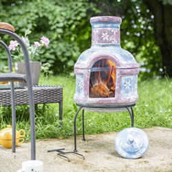Extra image of Oxford Barbecues Pershore Clay Chiminea With BBQ Grill