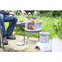 Small Image of Oxford Barbecues Pershore Clay Chiminea With BBQ Grill