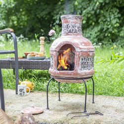Extra image of Oxford Barbecues Maisemore Clay Chiminea With BBQ Grill
