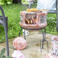 Small Image of Oxford Barbecues Maisemore Clay Chiminea With BBQ Grill