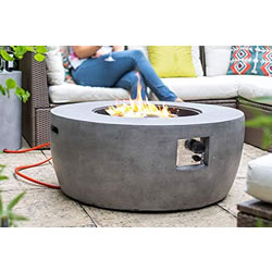 Extra image of La Hacienda Orlando Magnesia Smooth Cement Effect Gas Firepit 40,000 BTU